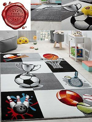 Kids Rug Sports Print Boys Room Carpet Checked Design Playroom Mat Childrens Rug