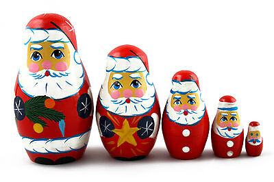 Matryoshka Russian Nesting Doll Wooden Babushka Poupee Santa Claus Father 5 pcs