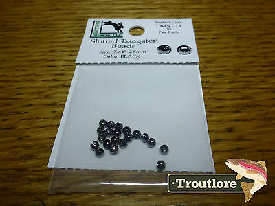 """20 PACK BLACK 7/64"""" 2.8mm SLOTTED TUNGSTEN BEAD HEADS - NEW FLY TYING MATERIALS"""