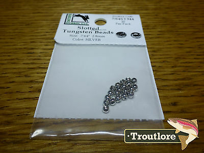 """20 PACK SILVER 7/64"""" 2.8mm SLOTTED TUNGSTEN BEAD HEADS - NEW FLY TYING MATERIALS"""