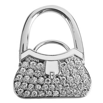 Metal RhInestone Folding Handbag Purse Table Hook Hanger Holder White Accessory