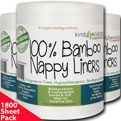 1800 x Bamboo Flushable Diaper Liners Modern Cloth Nappy Diaper, Biodegradable