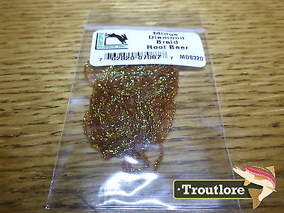 Root Beer Midge Diamond Braid - New Hareline Dubbin Fly Tying Body Materials