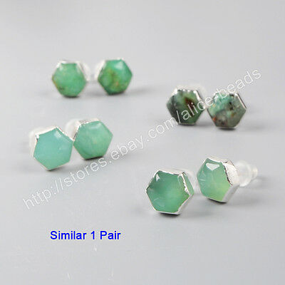 1Pair 925 Sterling Silver 8mm Cambered Hexagon Natural Chrysoprase Studs HSS050
