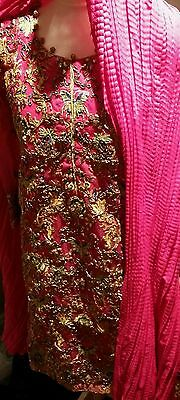 Pakistani gotta embroided shirt,pure silk trousers,dupatta in Small size