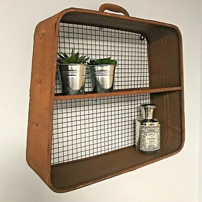 Antique Style Wall Shelf Metal Distressed Storage Industrial Suitcase Rust Style