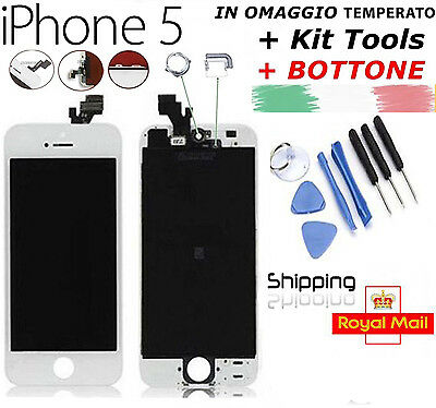 Touch Screen + Lcd Display + Frame Per Apple Iphone 5 Schermo Bianco Retina