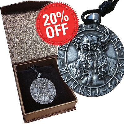 Norse Gods Odin 17g Nickel Silver Coin-size Pendant High Relief Antiqued. Box