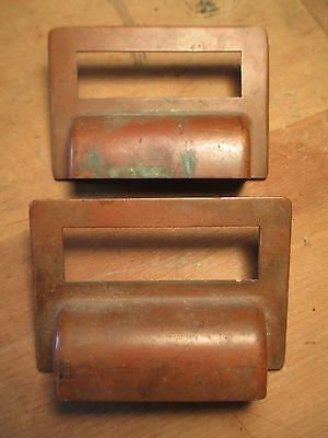 2 Vintage Drawer Pulls w/ Card Holder - Copper & 1930's - Library Cabinet