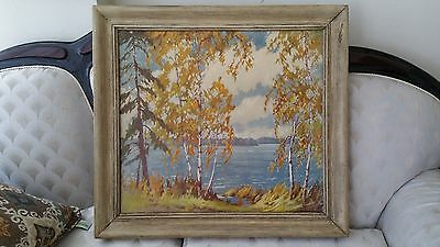 Antique James Topping 1930s-40s Oil on Canvas River Landscape print (singed)