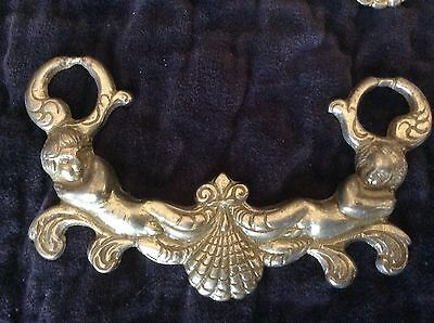 Antique Brass cherub putti cabinet handles pulls ~ ORNATE Up To 5 Available!
