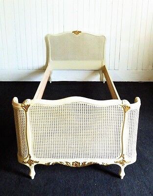 Antique style white and gold french country bergere cane single bed