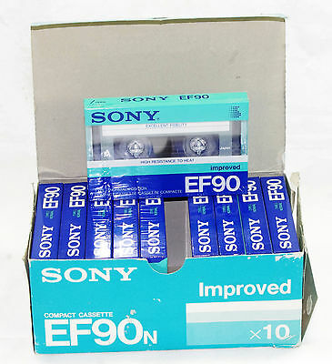 LOT OF 10x SONY EF90 Sealed Boxed! NEW Improved Blank Audio Cassette Tape Japan