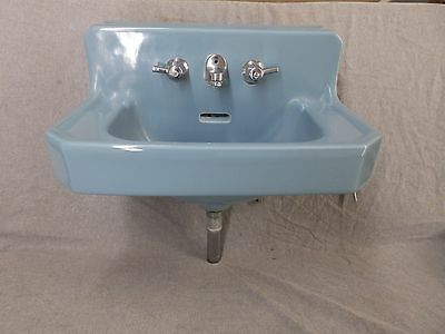 Vtg Medium Blue Porcelain Ceramic Bathroom Sink Old Standard Plumbing 1878-16