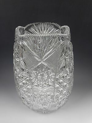 "American Brilliant Period ABP Cut Glass Oviod 11"" Tall Vase Pinwheel Crosshatch"
