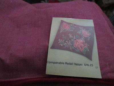 Velvet Rose Pillow Cover Tri-Chem #2559-Ready To Paint/Embroider-14 Inches Squar