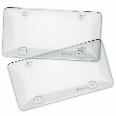 Zone Tech 2x Clear License Plate Covers Tag Frame Bubble Shield Truck Car