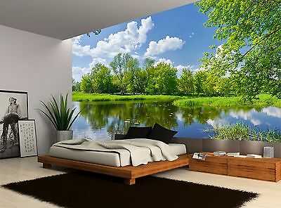 Trees Green River Clouds Water Grass Wall Mural Photo Wallpaper GIANT WALL DECOR