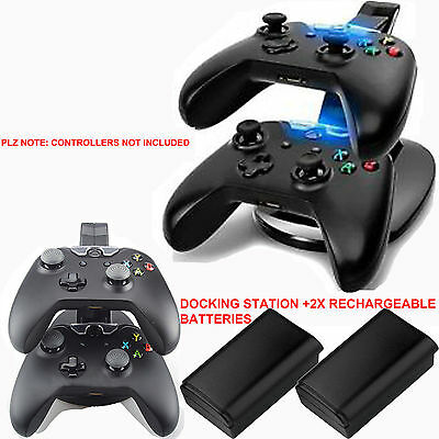USB CHARGER DOCKING STATION CHARGING STAND +2x BATTERIES FOR XBOX 360 CONTROLLER