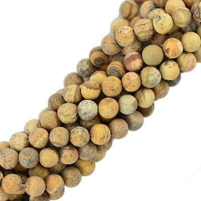 8mm Cabochon Matte Picture Jasper Gemstone Beads Round 15''