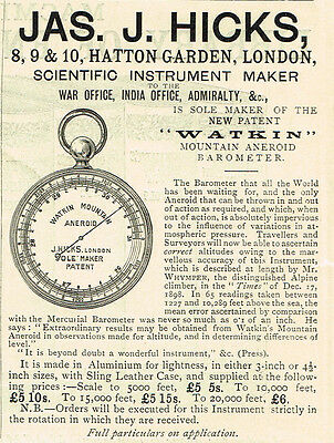 1899 Vintage original HICKS Watkin Mountain Aneroid Barometer London print ad
