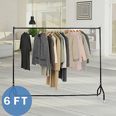 6FT Metal Clothes Rail Heavy Duty Garment Rack Home Shop Hanging Display Stand