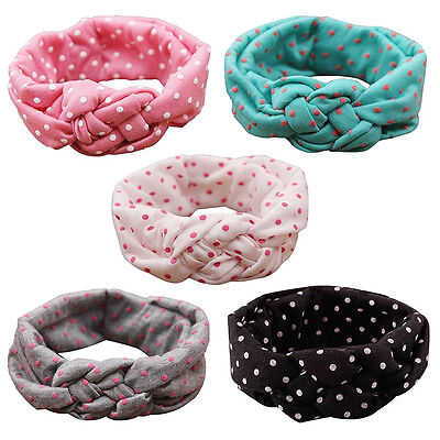 5x Baby Girls Toddler Kids Cute Turban Headband Head Bows Hairband Small Dots SP