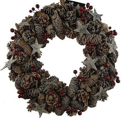 Large 35cm Round Shabby Chic Natural Pine Cone Berry Christmas Door Wreath