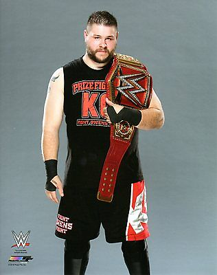 "KEVIN OWENS WITH TITLE BELT WWE PHOTO WRESTLING GENUINE OFFICIAL 8x10"" PROMO NXT"