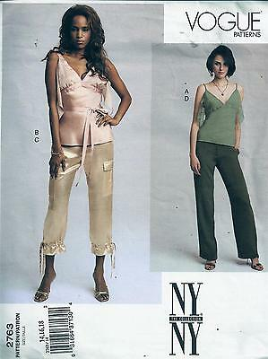 Vogue 2763 Sewing Pattern Misses Ny Collection Petite Top & Pants Sizes 14-16-18