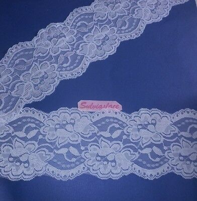 3  metres  of  Very  Pretty  White  Stretch  lace     95 mm  wide