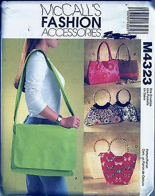 Mccall's 4323 Sewing Pattern For 5 Styles Of Bags