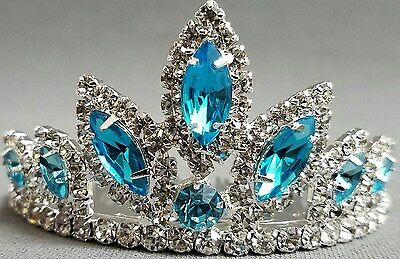 NEW Wedding Pageant Girls Turquoise Blue oval Rhinestone Tiara Hair comb Jewel
