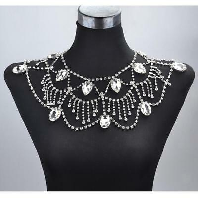 Wedding Bridal Silver Crystal Shoulder Body Chain Necklace Earrings Jewelry