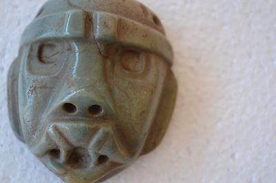 Antique Pre Columbian Dark Green Jade Pendant With Face Of Man
