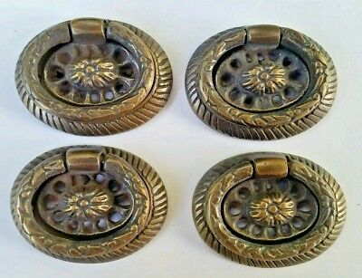 "4 Detailed Oval Brass Handles ring pulls 1 3/4"" Laurel Wreath and Ribbon #H24"