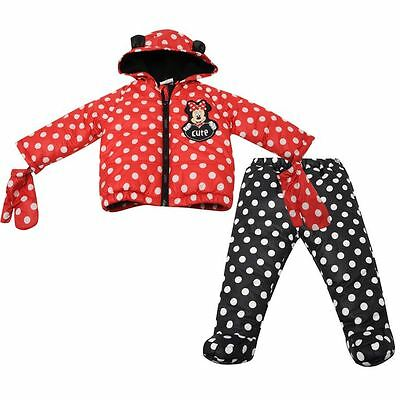 Minnie Mouse Official Disney 3 Piece Baby Hooded Coat Set Trousers Gloves Kids