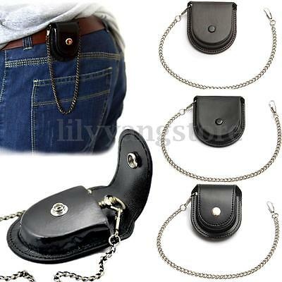 Vintage Leather Pocket Watch Holder Storage Case Coin Purse Pouch Bag With Chain