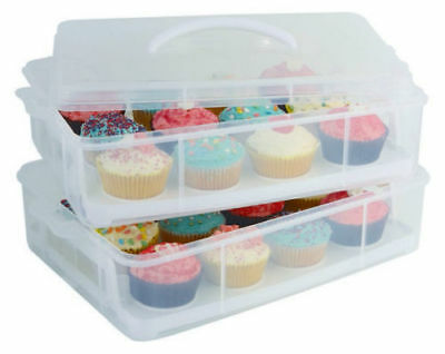 D.Line Daily Bake 24 Cup Stackable Cupcake Carrier Removable Trays & Cliplocks
