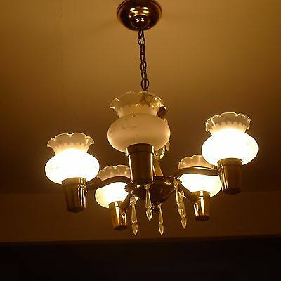 Vintage 1930's Art Deco 5 Arm Frosted Glass Shades & Gold Ceiling Chandelier