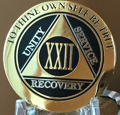 22 Year AA Medallion Black Gold Plated Bi-Plate Alcoholics Anonymous Chip Coin