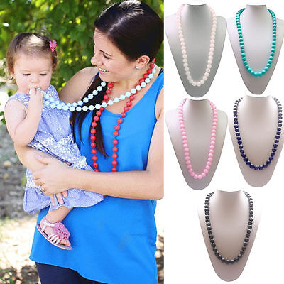 Food-Grade BPA-Free Baby Teething Necklace Teether Toys Mom Jewelry Toothbrush