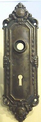 3 Vintage Bronze/brass  Door Escutcheon Plates W/skeleton Keyholes