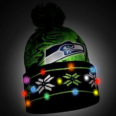 Seattle Seahawks Big Logo Light Up Printed Beanie Winter Hat Toque Cuffed Pom