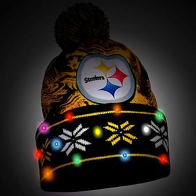 Pittsburgh Steelers Big Logo Light Up Printed Beanie Winter Hat Toque Cuffed Pom