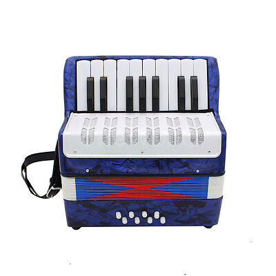 Musical Instrument Kids Piano Accordion Blue 17 Keys 8 Bass