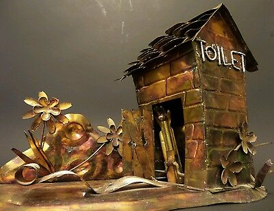 *VINTAGE* Outhouse Toilet Music Box Cabin Hunting Hillbilly Fishing Decor