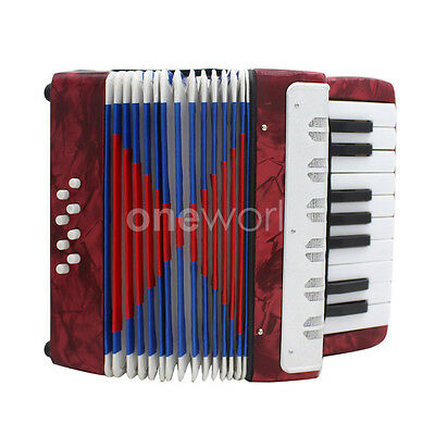 Musical Instrument Children Piano Accordion Red 8 Bass 17 Keys