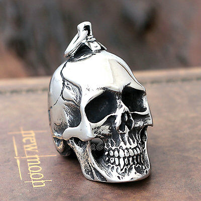 Men Large Heavy Vintage Silver Skull Chain Necklace Pendant 316L Stainless Steel
