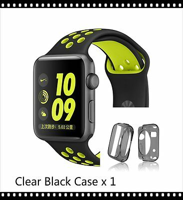 Black Yellow New Style Sports Silicone Strap Band Apple Watch 42mm Black Case